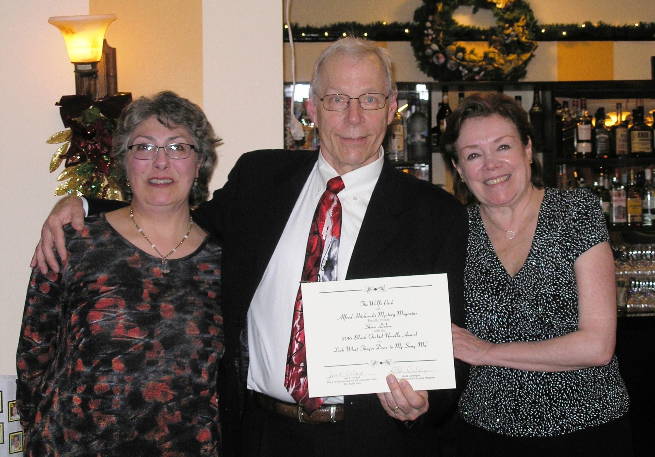 Linda Landrigan, Steve Liskow, Jane K. Cleland, December 3, 2016